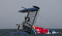 Red Bull Extreme Sailing Team capsize on Day 4 at Muscat.